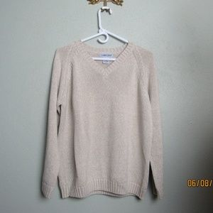 Cabin Creek Sweater Tan & White Knitted V Neck Lg
